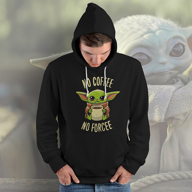 Casaco Moletom Canguru No Coffee No Force Baby Yoda: Star Wars (Preto) - EV