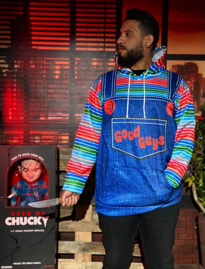 Casaco Moletom Chucky O Brinquedo Assassino Good Guys Azul Jeans - MKP