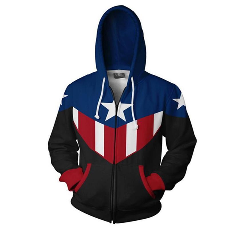Casaco Moletom Com Zíper Capitão América Captain America Bucky Barnes Marvel - EV