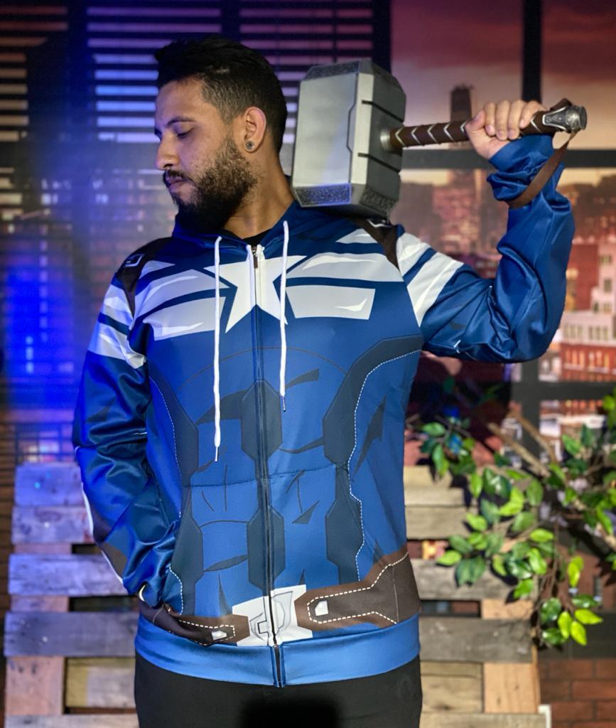 Casaco Moletom Com Ziper Capitão América Captain America: Capitão América 2 Soldado Invernal Captain America The Winter Soldier Marvel - EV