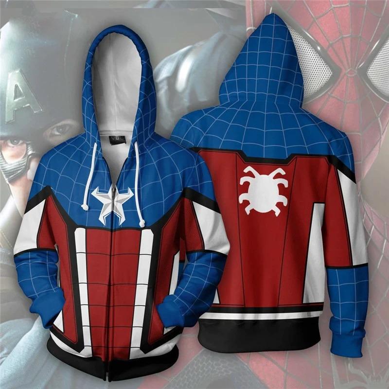 Casaco Moletom Com Zíper Capitão América Captain America Homem Aranha Spider-man Marvel - EV