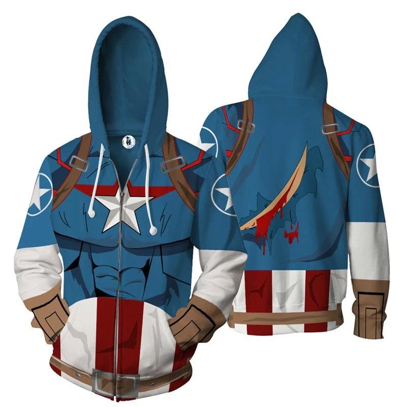 Casaco Moletom Com Zíper Capitão América Captain America: O Primeiro Primeiro Vingador The First Avangers Marvel  - EV