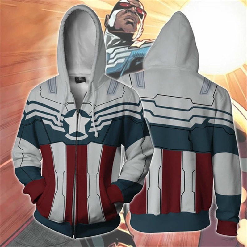 Casaco Moletom Com Zíper Capitão América Captain America Sam Wilson Falcão  Marvel - EV