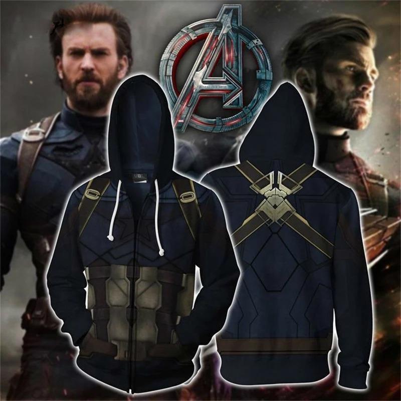 Casaco Moletom Com Zíper Capitão América Captain America: Vingadores Guerra Infinita Avangers Infinity War Marvel - EV