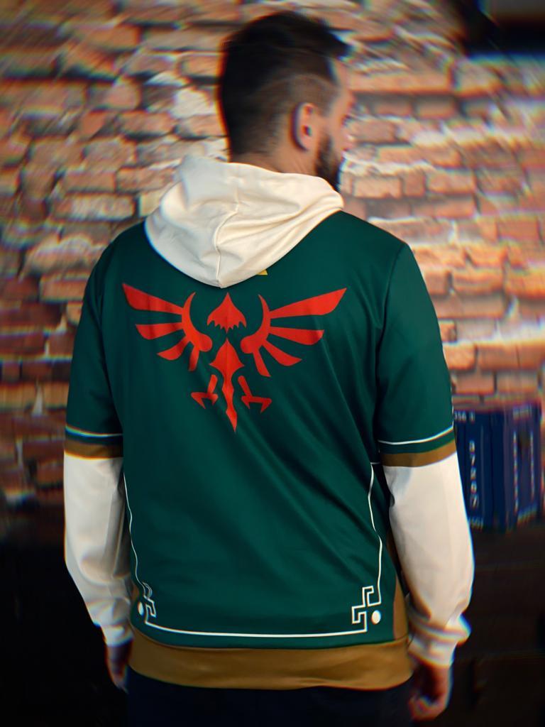 Casaco Moletom com Zíper Roupa Link Triforce The Legend Of Zelda Verde