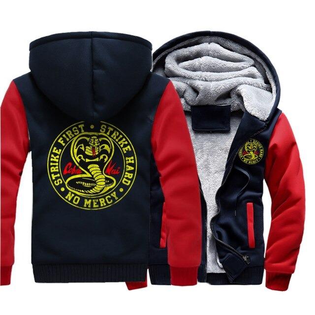 Casaco Moletom com Zíper Striker First Strike Hard No Mercy Cobra Kai Karate Kid  (Azul  e Vermelho) - EVALI