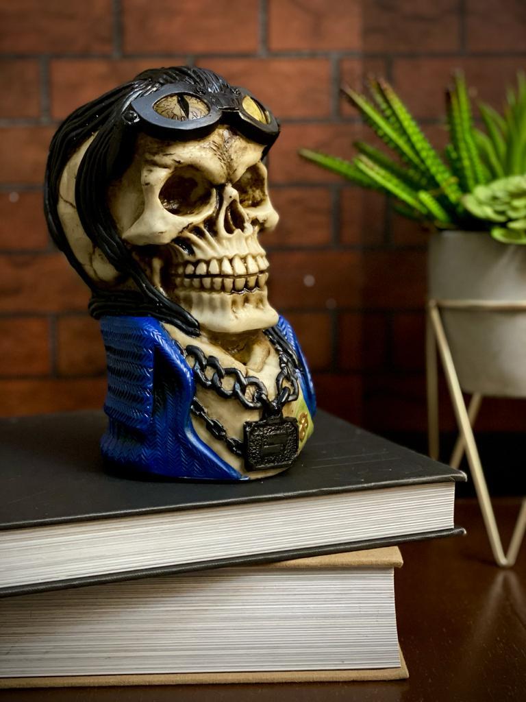 Caveira Crânio Skull Decorativa Cabelo Motoqueiro