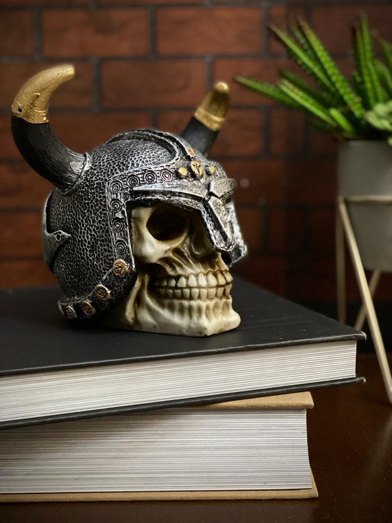 Caveira Crânio Skull Decorativa Capacete Medieval Chifres Viking - EV
