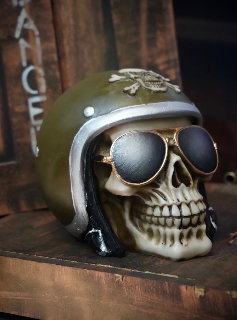 Caveira Crânio Skull Decorativa Capacete Motoqueiro Verde Exército Vintage