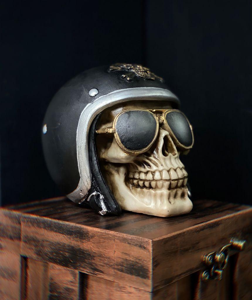 Caveira Crânio Skull Decorativa Capacete Motoqueiro Vintage