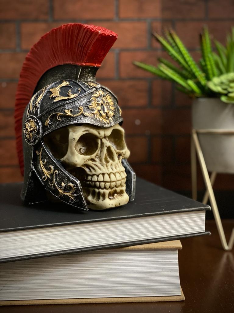 Caveira Crânio Skull Decorativa Medieval Centurião Soldado Romano Legionário