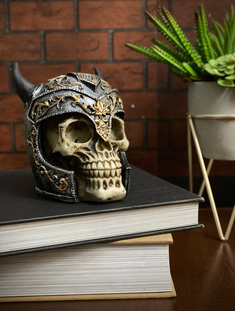 Caveira Crânio Skull Decorativa Medieval Com Chifre - EV