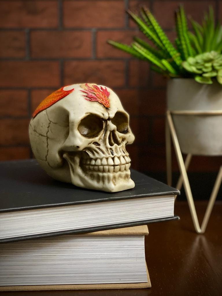 Caveira Crânio Skull Decorativa Tatuagem Tattoo Dragão Vermelho