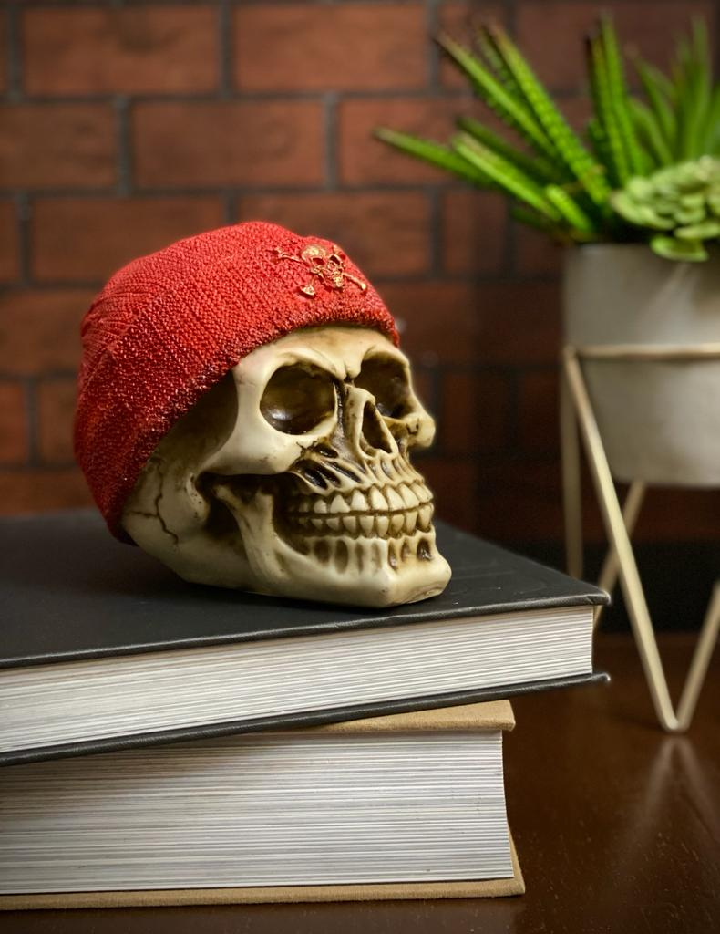 Caveira Crânio Skull Decorativa Touca Gorro Vermelho Pirata - EV