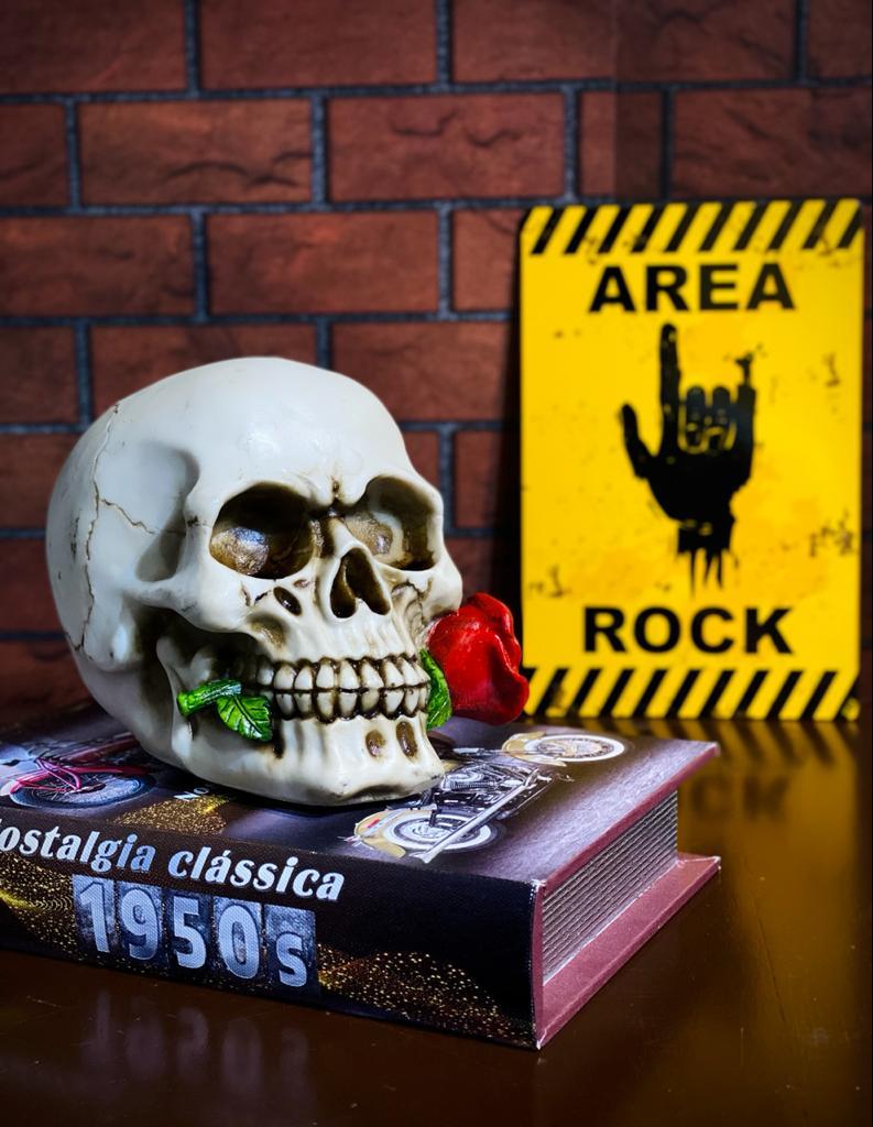 Caveira Skull Com a Rosa