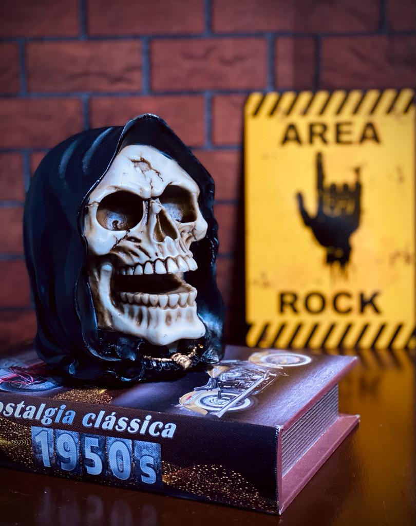Caveira  Skull Com Capuz Preto