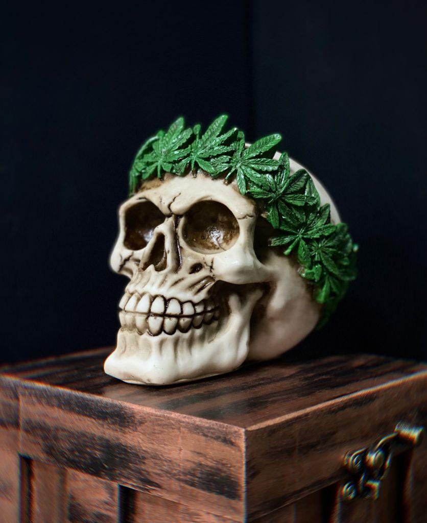 Caveira Skull Crânio Decorativa Cannabis