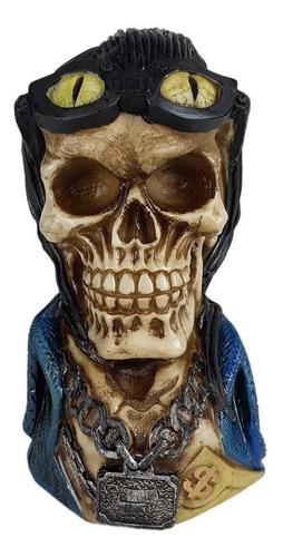 Caveira Skull Decorativa Cabelo Motoqueiro