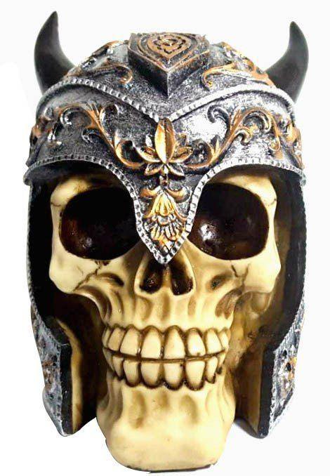 Caveira Skull Decorativa Medieval Com Chifre