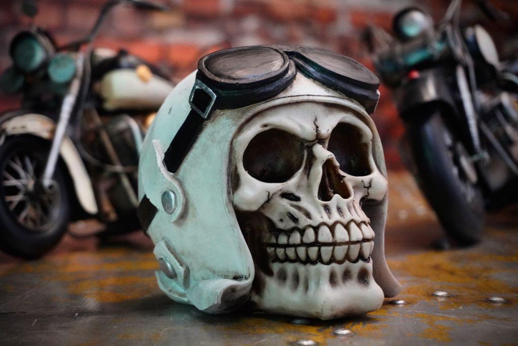 Caveira Skull Decorativa Piloto Aviador