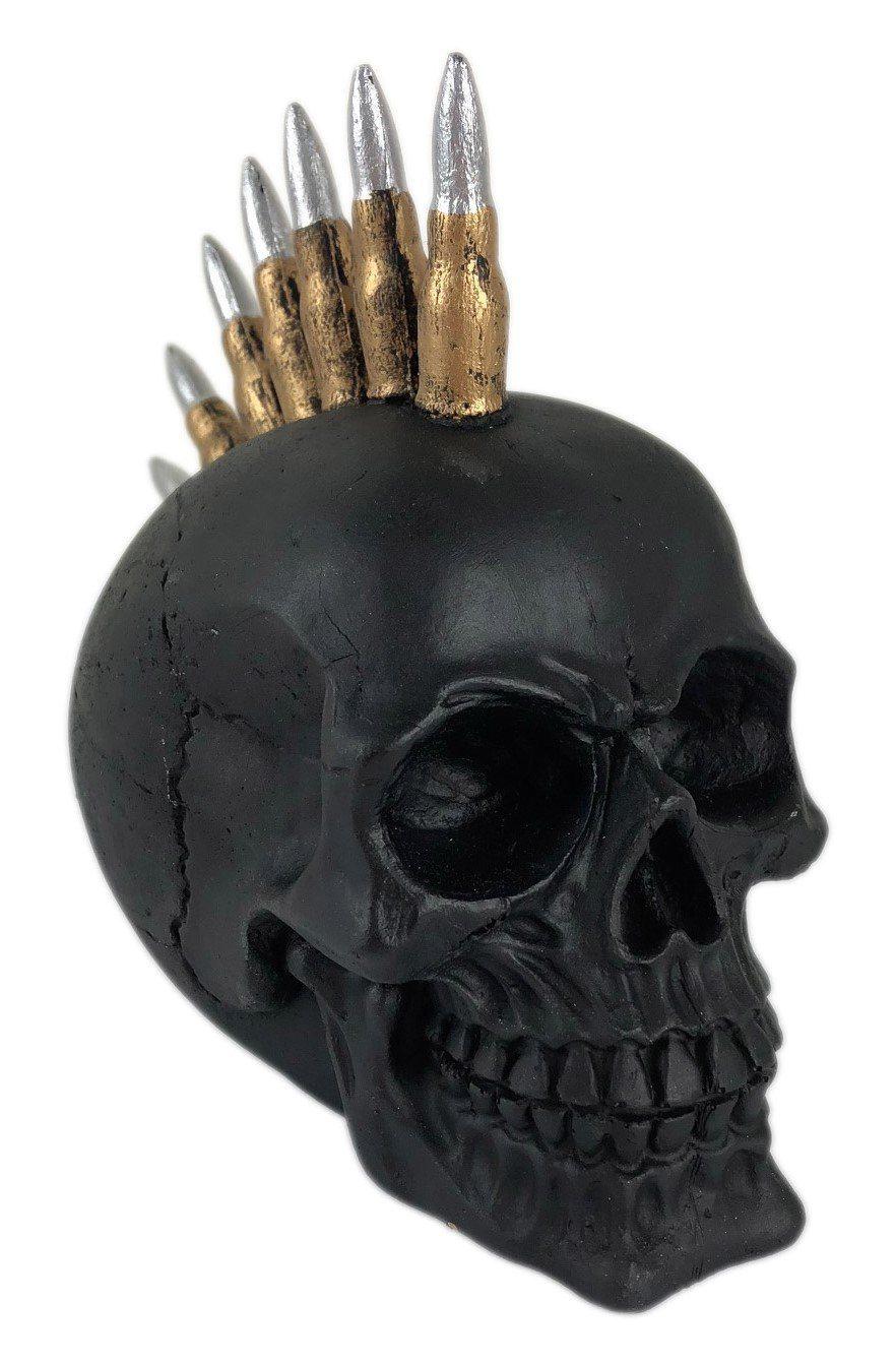 Caveira Skull Decorativa Preta Moicano Bala De Fuzil