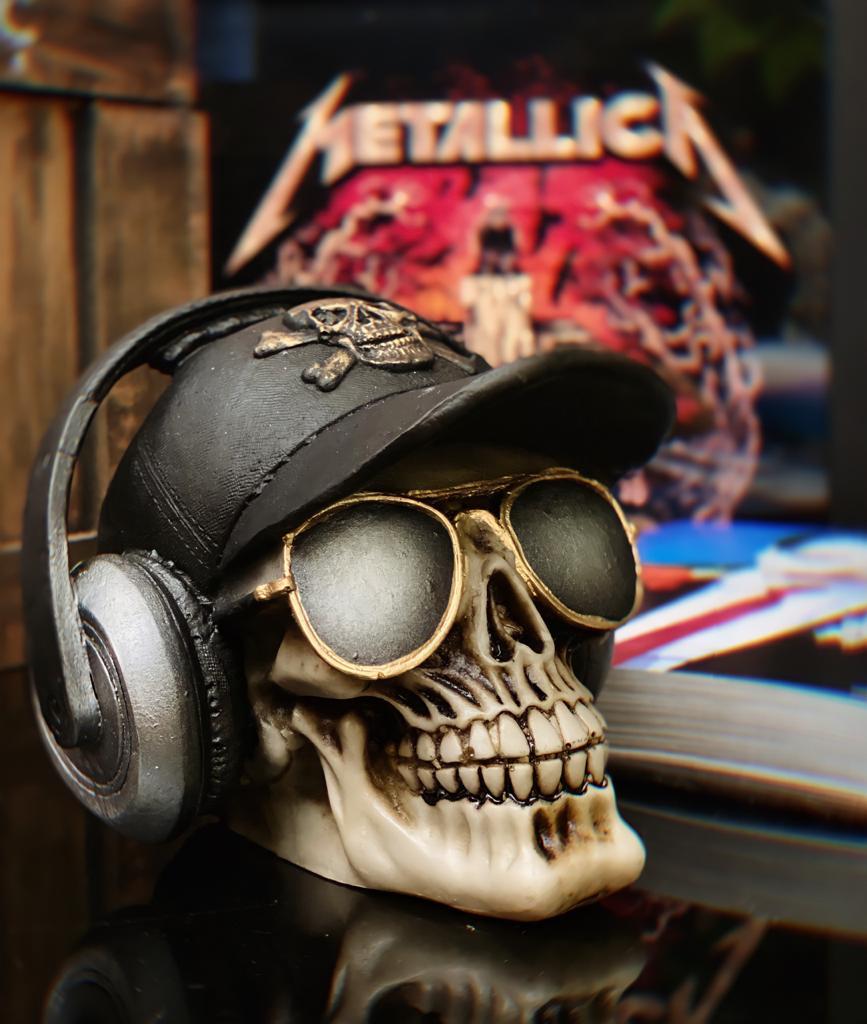 Caveira Skull Decorativa Rock In Roll Com Headphone
