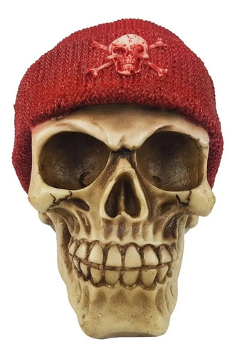 Caveira Skull Decorativa Touca Gorro Vermelho Pirata