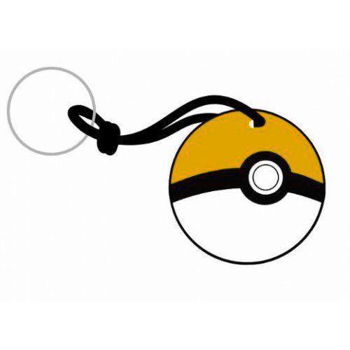 Chaveiro Borracha Pokémon Pokebola Amarela