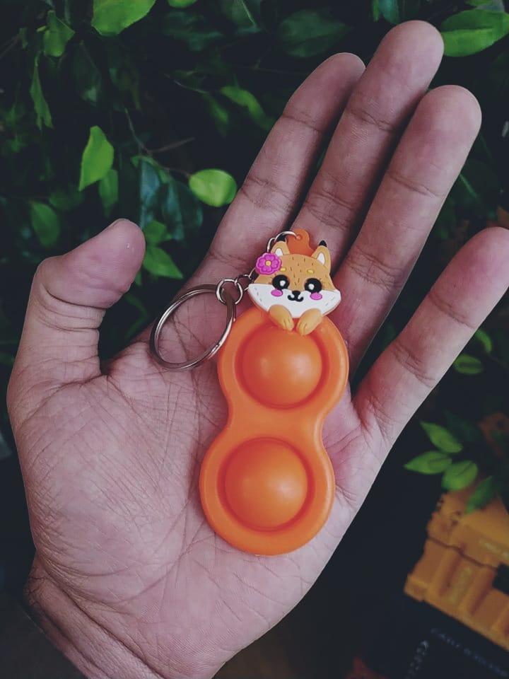 Chaveiro Brinquedo Prime Anti Estresse Raposa Raposinha Laranja Pop It Fidget Bubble Bolha Pop Tube Stress Ball Wacky Track Squish SquishMallow