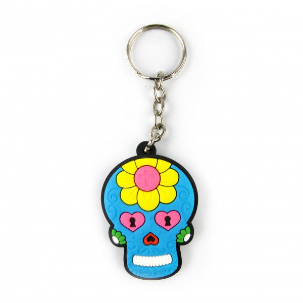 Chaveiro de Borracha Caveira Mexicana - Fábrica Geek