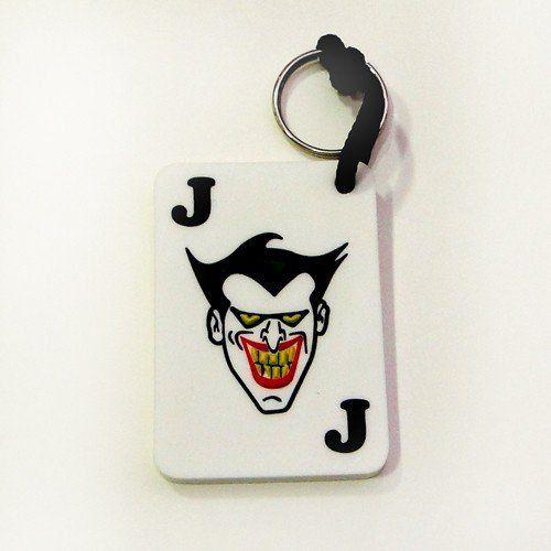 Chaveiro de Borracha Coringa (Joker): Carta de Baralho