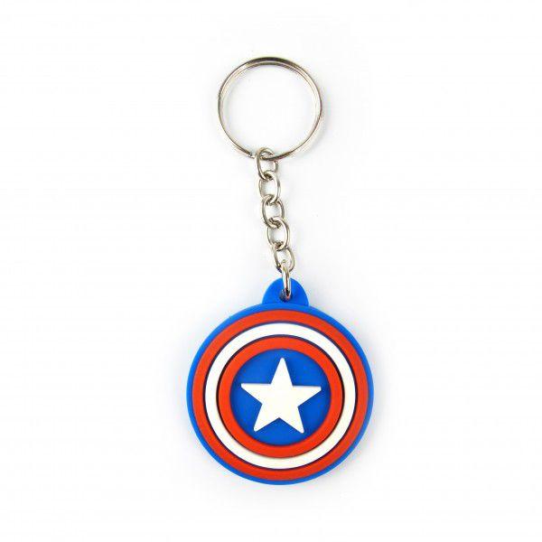Chaveiro de Borracha Escudo Capitão América - Fábrica Geek