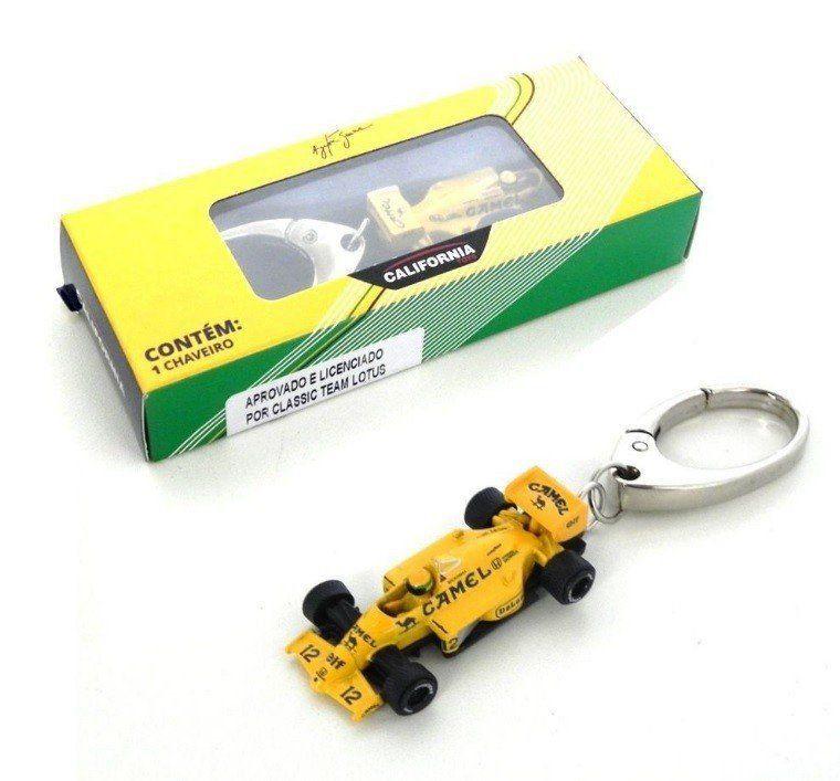 Chaveiro Lotus Amarela: Ayrton Senna Escala 1/64 - Premium Collectibles