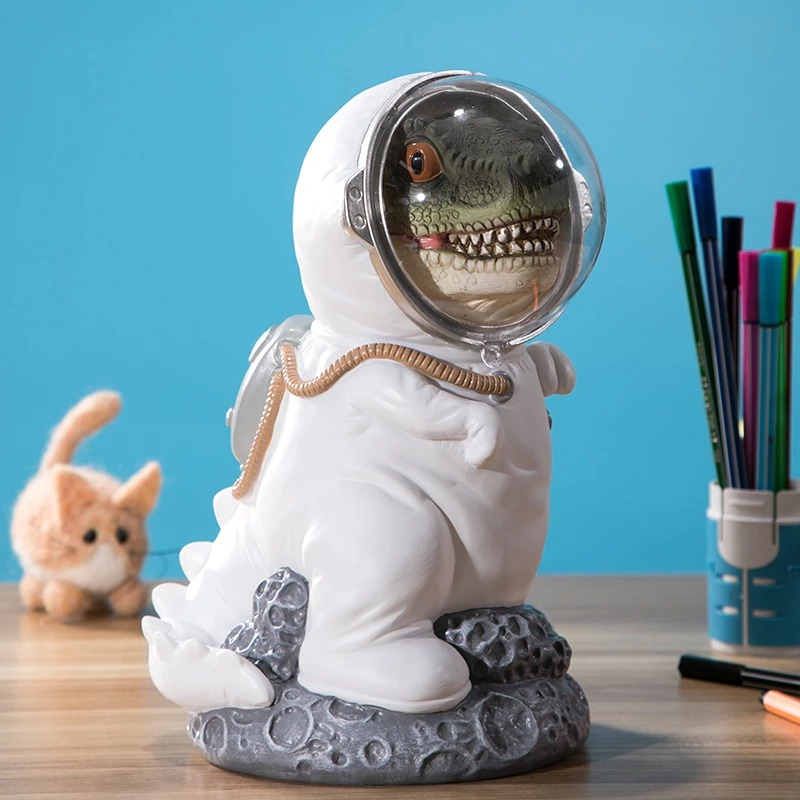 Cofrê Estátua Dinossauro T-Rex Astronauta Nasa  26 cm - MKP