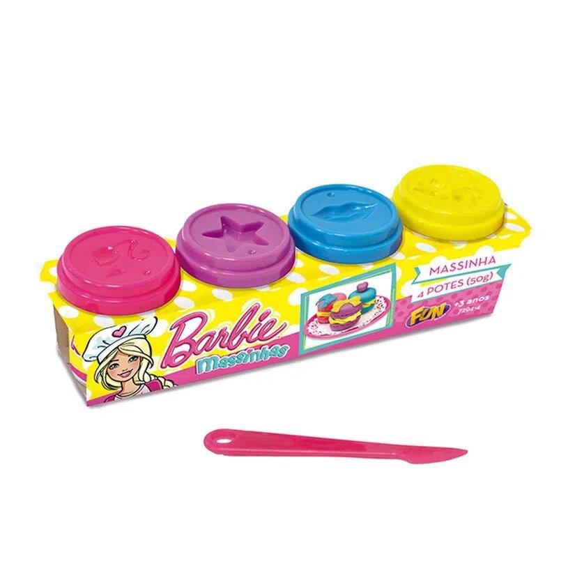 Conjunto Barbie: Massinha com 4 Potes 50g