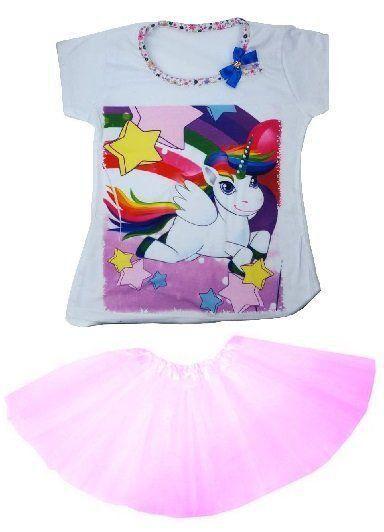 Conjunto Camiseta Unicórnio Arco-Íris Com Saia Tutu Rosa