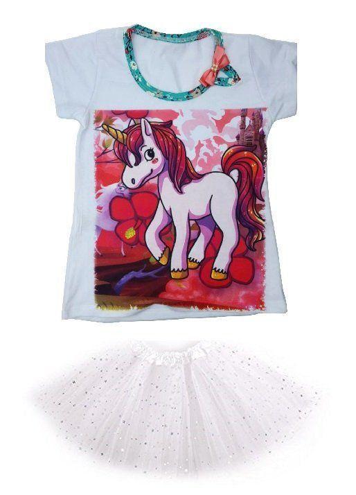 Conjunto Camiseta Unicórnio e Saia Tutu Branco