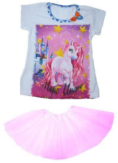 Conjunto Camiseta Unicórnio Magic com Saia Tutu Rosa