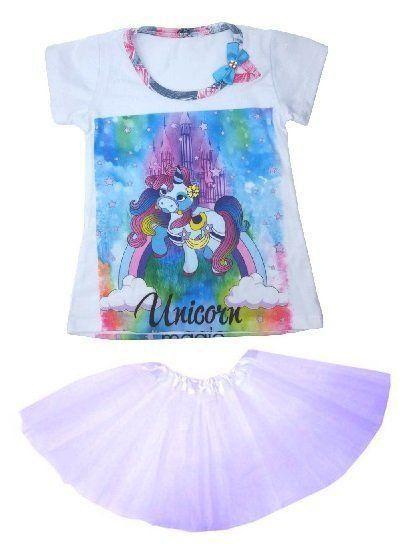 Conjunto Camiseta Unicórnio Magic com Saia Tutu Roxo