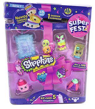 Conjunto com 5 Shopkins: Super Festa (Sortido) - DTC