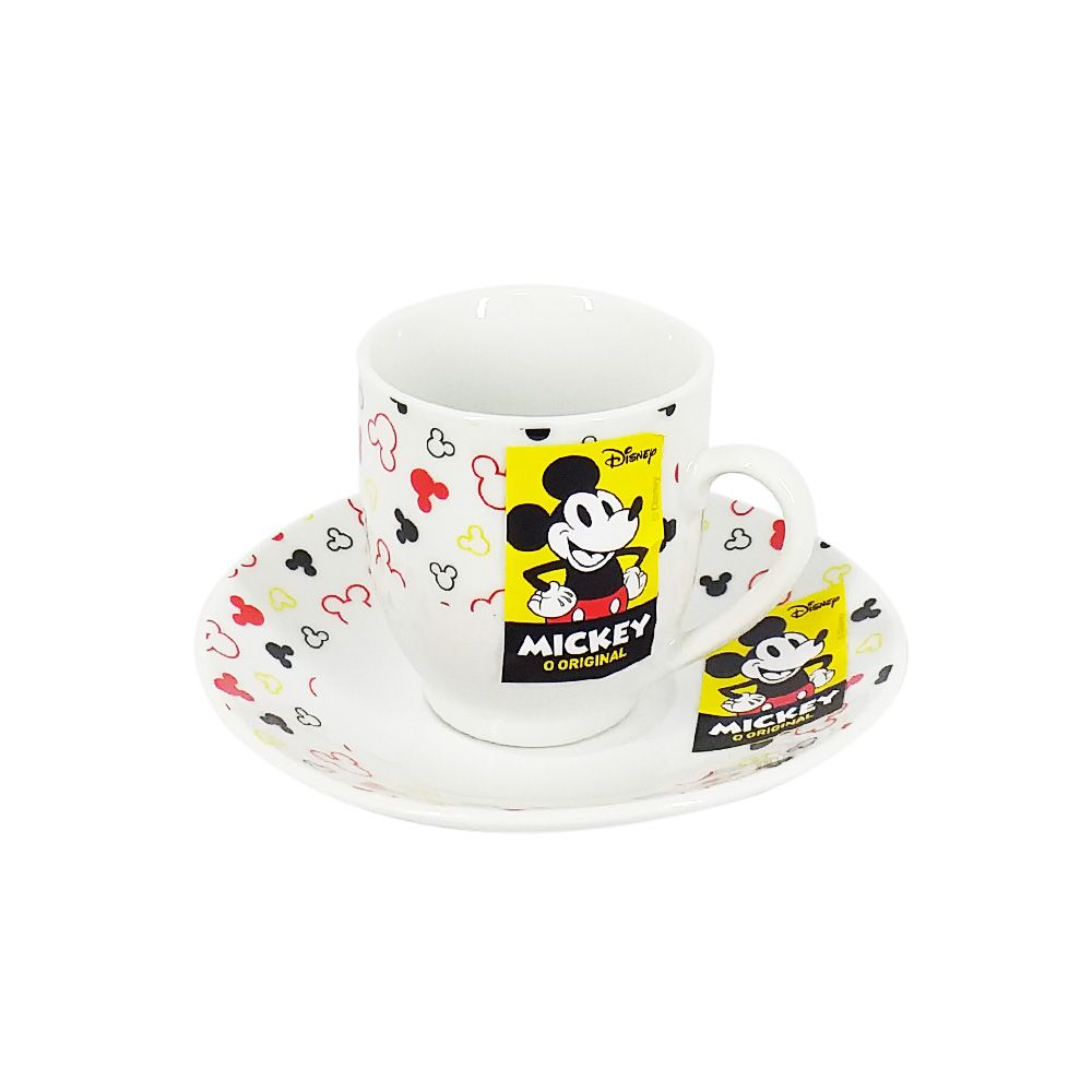 Conjunto de 6 Xícaras de Café Mickey Mouse: Disney (Branco)