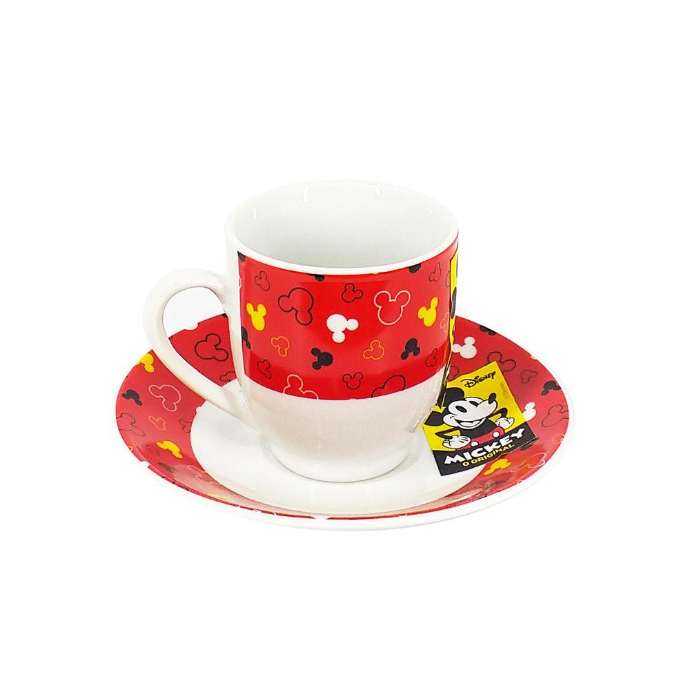 Conjunto de 6 Xícaras de Café Mickey Mouse: Disney (Vermelho)