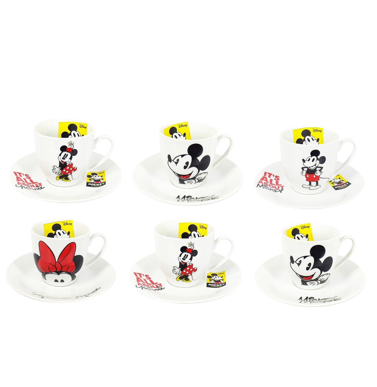 Conjunto de 6 Xícaras de Café Mickey Mouse & Minnie Mouse: Disney