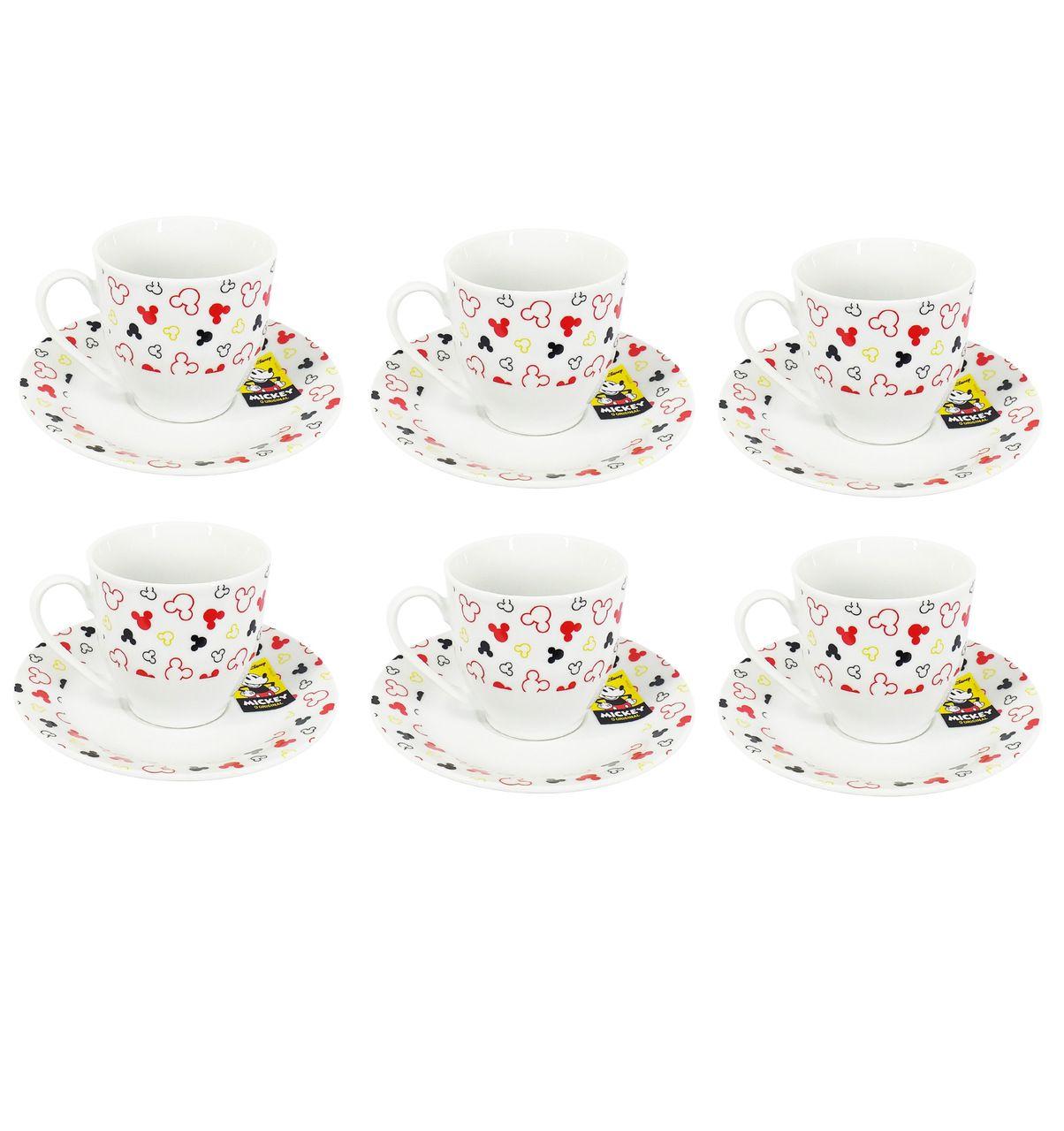 Conjunto de 6 Xícaras de Chá (Grande) Mickey Mouse: Disney (Branco)
