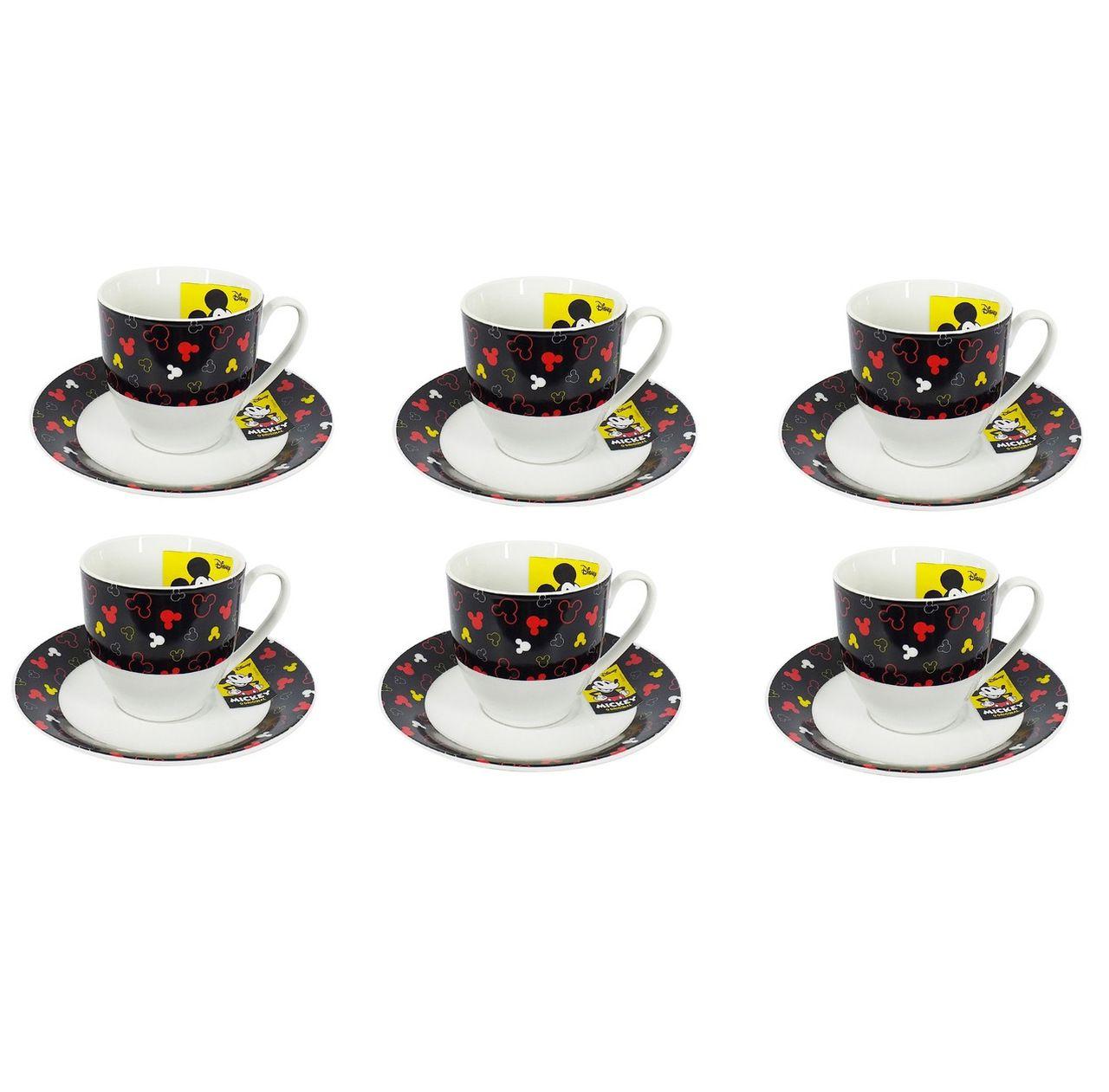 Conjunto de 6 Xícaras de Chá (Grande) Mickey Mouse: Disney (Preto)