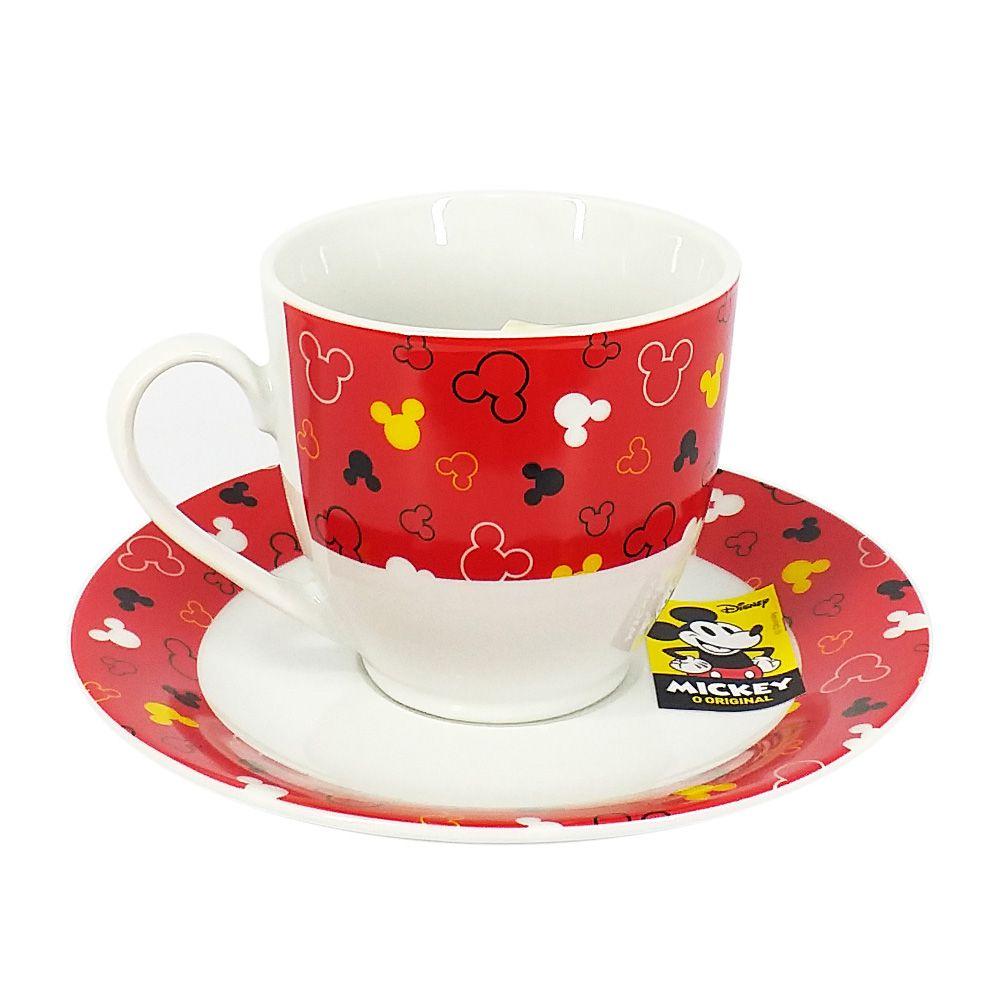Conjunto de 6 Xícaras de Chá (Grande) Mickey Mouse: Disney (Vermelho)