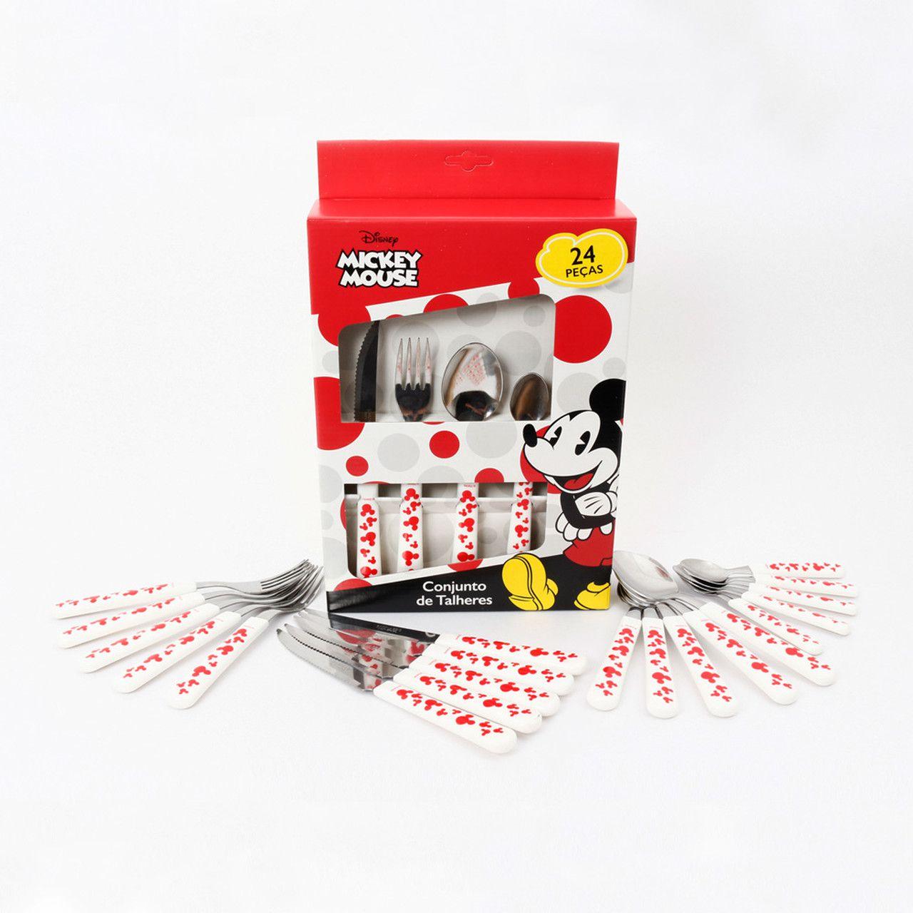 Conjunto de Talheres Mickey Mouse (24 Peças): Disney (Vermelho)