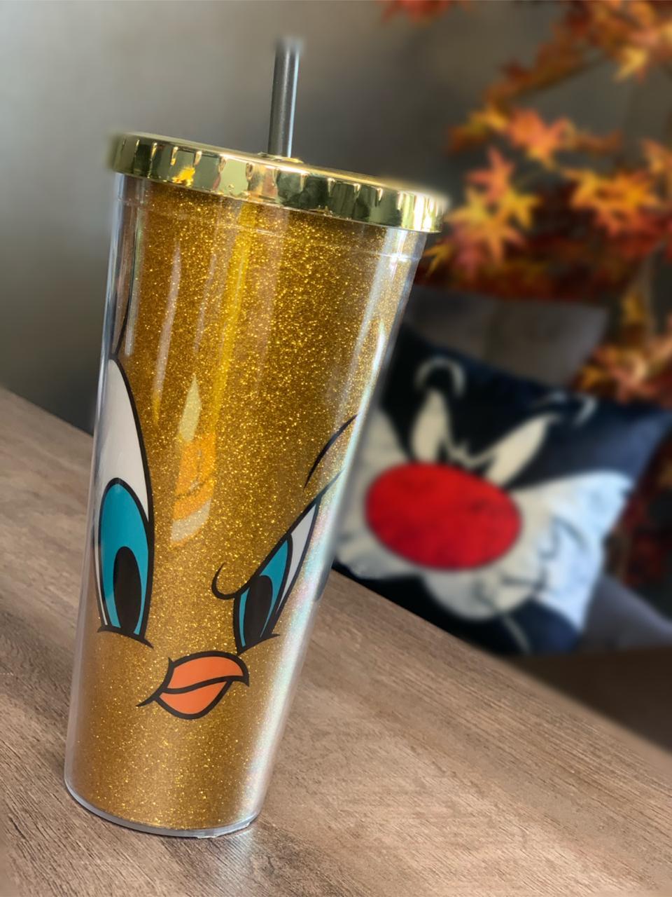 Copo Canudo: Piu Piu Looney Tunes: Glitter (Amarelo) - Urban