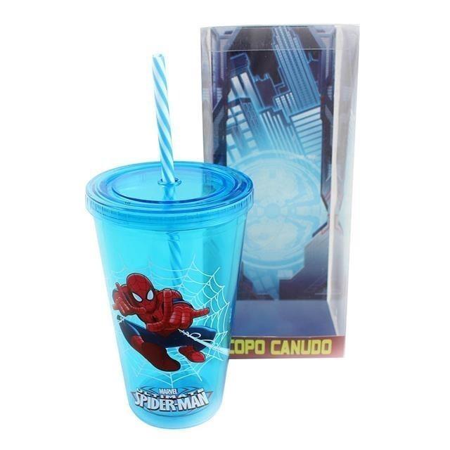 Copo Canudo Spider Man Azul - Zona Criativa