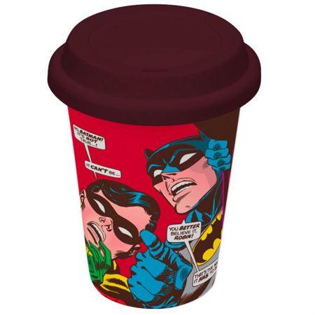 Copo Ceramica DC com Tampa de Silicone Batman e Robin